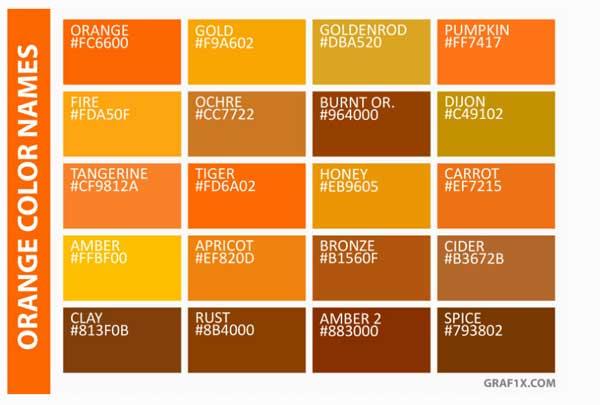 اسامی رنگ های نارنجی به انگلیسی