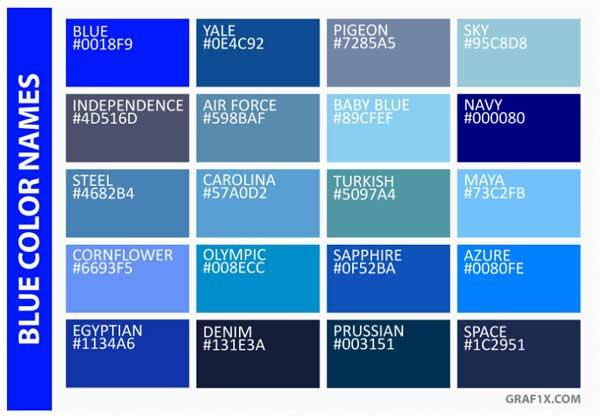 اسامی رنگ های آبی به انگلیسی