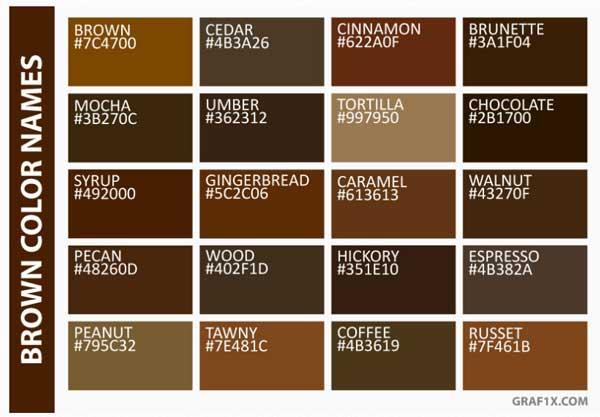 اسامی رنگ های قهوه ای به انگلیسی